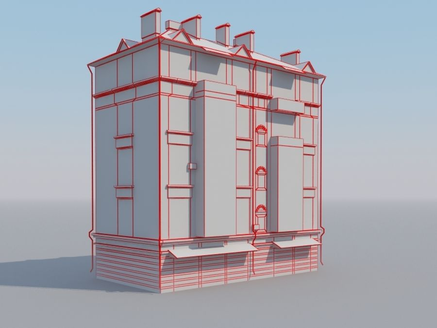 Low poly building 3 royalty-free 3d model - Preview no. 6