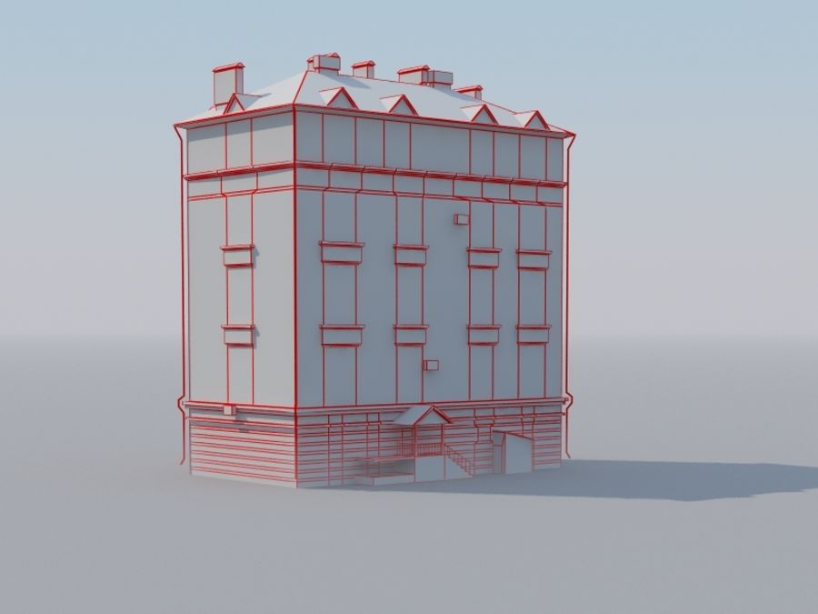 Low poly building 3 royalty-free 3d model - Preview no. 7