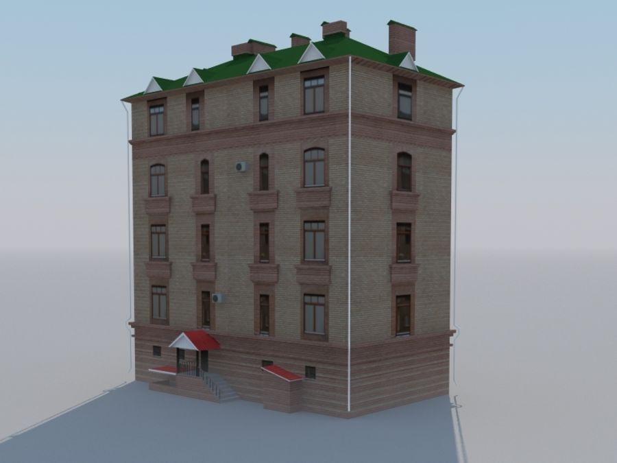 Low poly building 3 royalty-free 3d model - Preview no. 5
