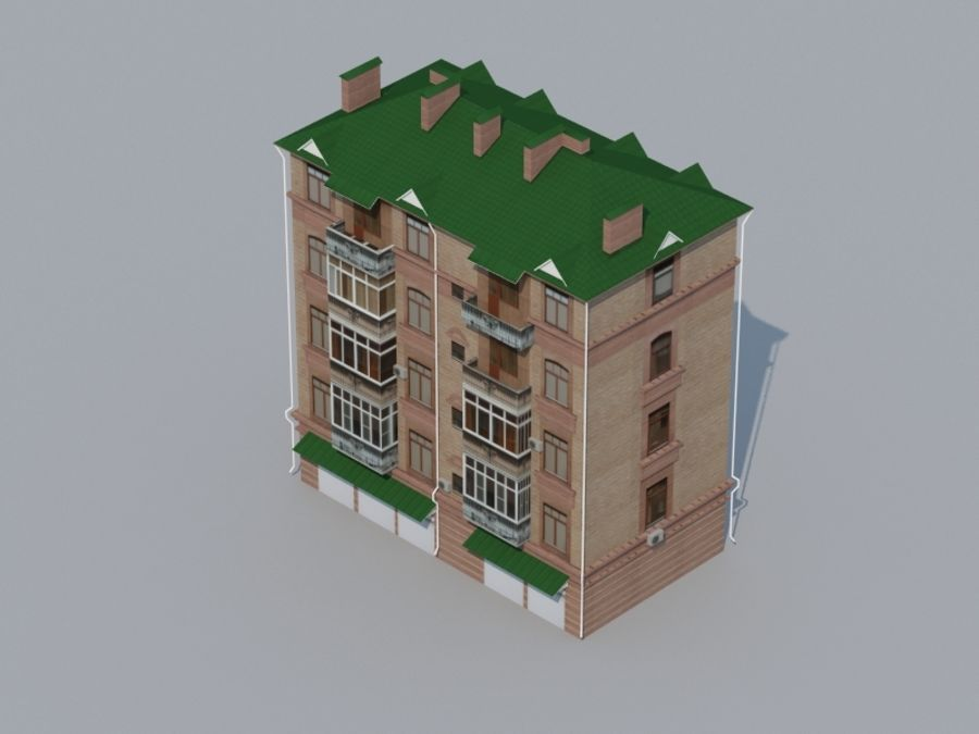 Low poly building 3 royalty-free 3d model - Preview no. 2
