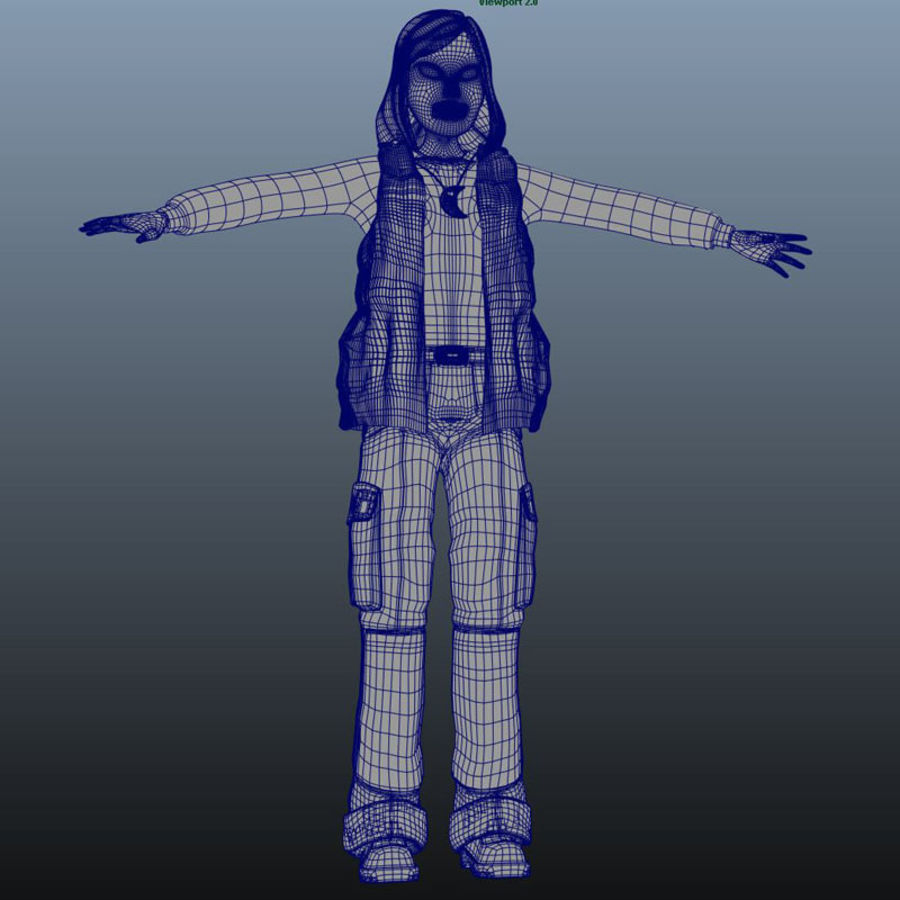 Character Elly royalty-free 3d model - Preview no. 8