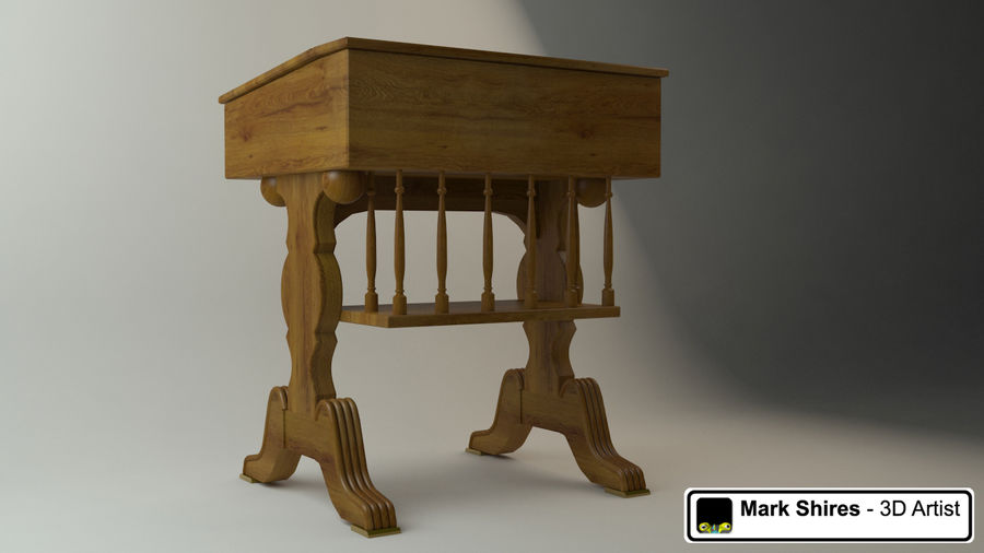 Senado Desk royalty-free 3d model - Preview no. 2