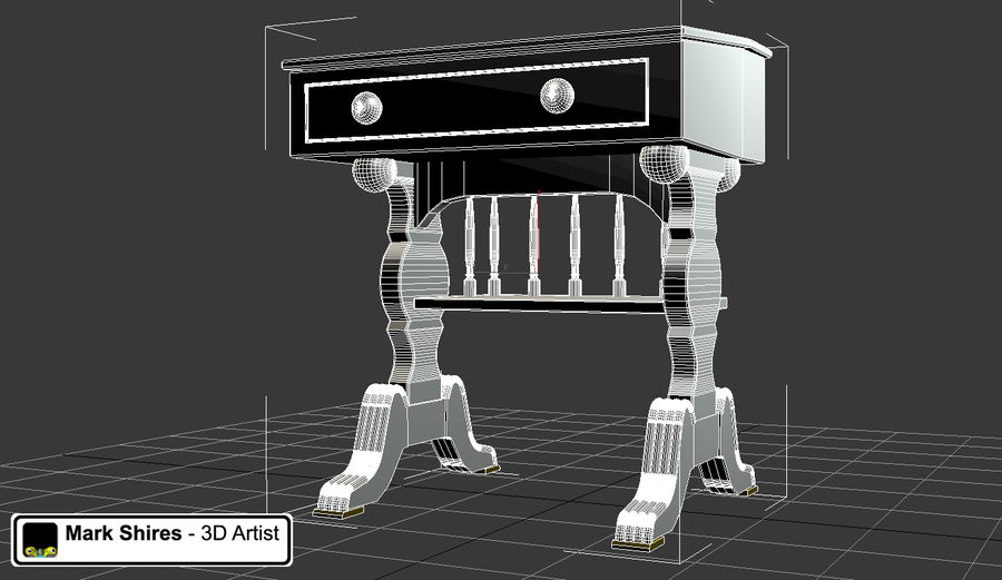 Senado Desk royalty-free 3d model - Preview no. 5