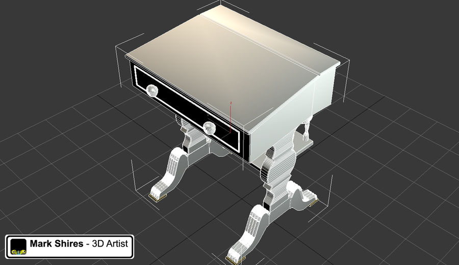 Senado Desk royalty-free 3d model - Preview no. 6