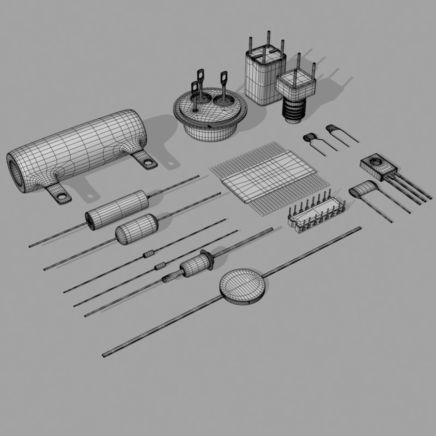Vintage electronics components royalty-free 3d model - Preview no. 12