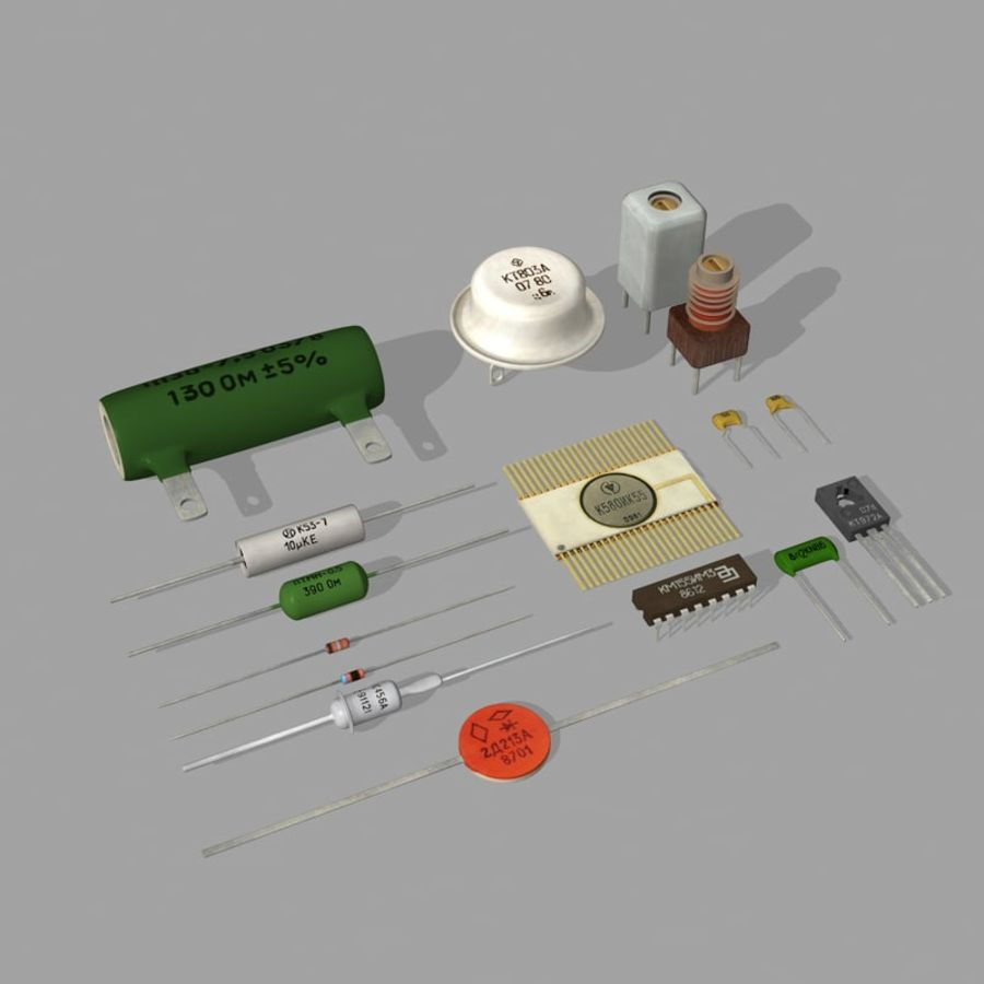 Vintage electronics components royalty-free 3d model - Preview no. 6