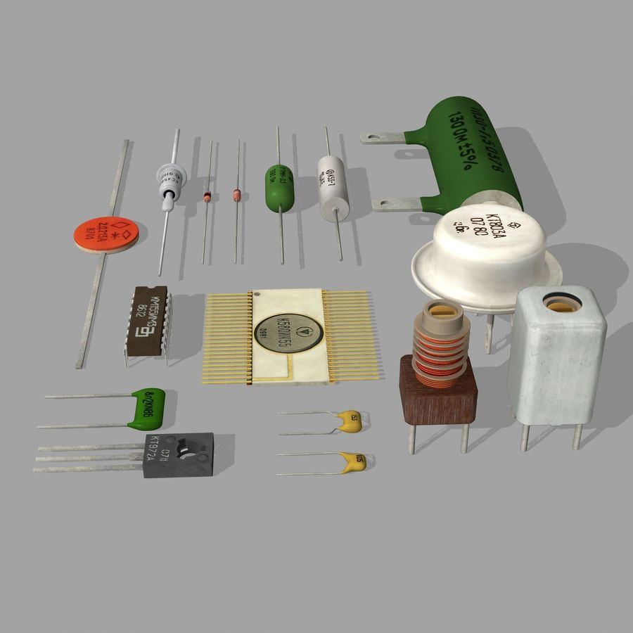 Vintage electronics components royalty-free 3d model - Preview no. 9