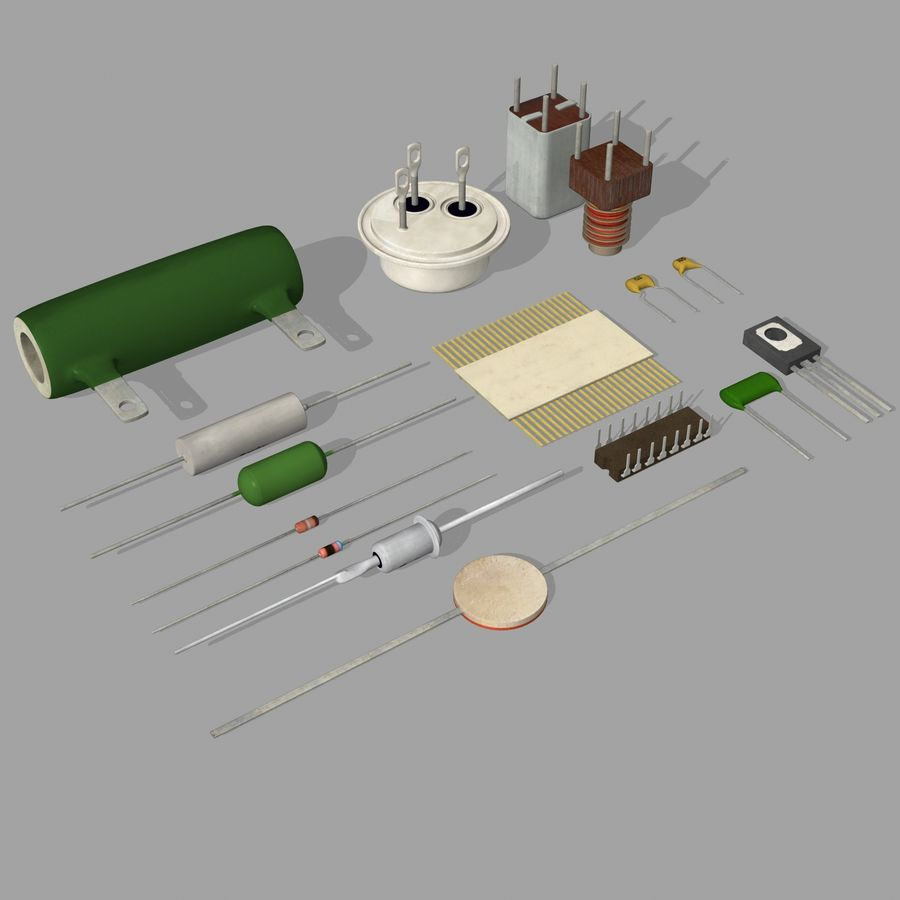 Vintage electronics components royalty-free 3d model - Preview no. 7