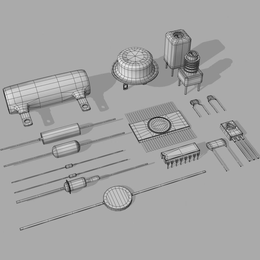Vintage electronics components royalty-free 3d model - Preview no. 10