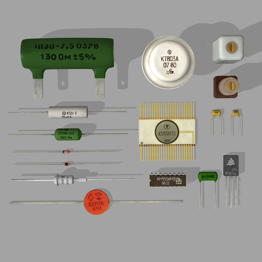 Vintage electronics components royalty-free 3d model - Preview no. 4