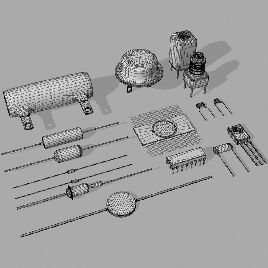Vintage electronics components royalty-free 3d model - Preview no. 11