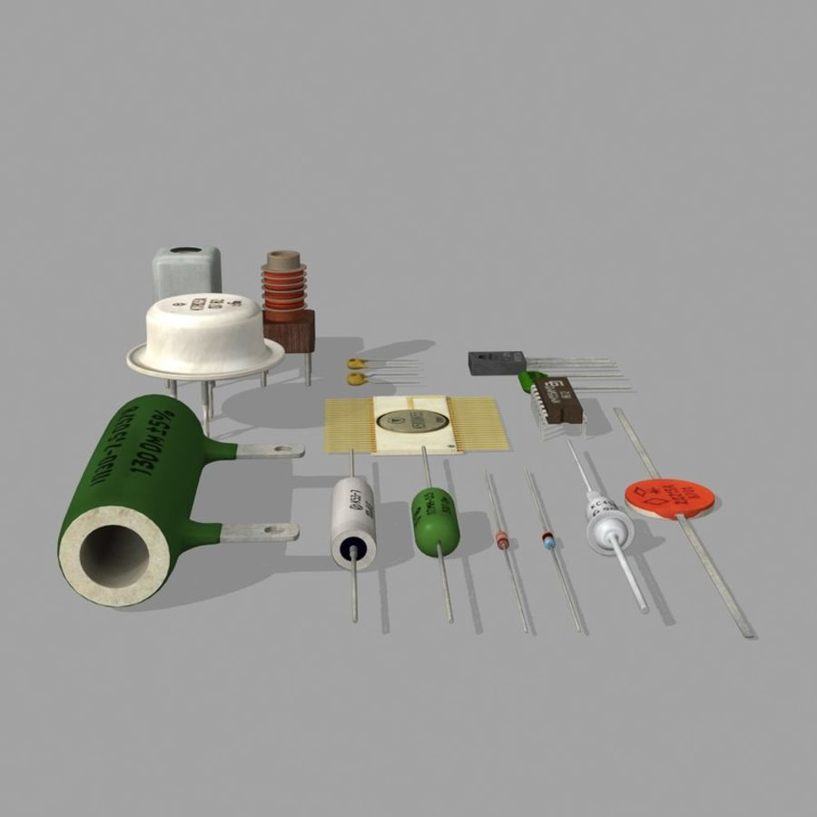 Vintage electronics components royalty-free 3d model - Preview no. 8