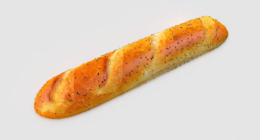 Long Bread royalty-free 3d model - Preview no. 3