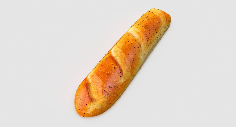 Long Bread royalty-free 3d model - Preview no. 6