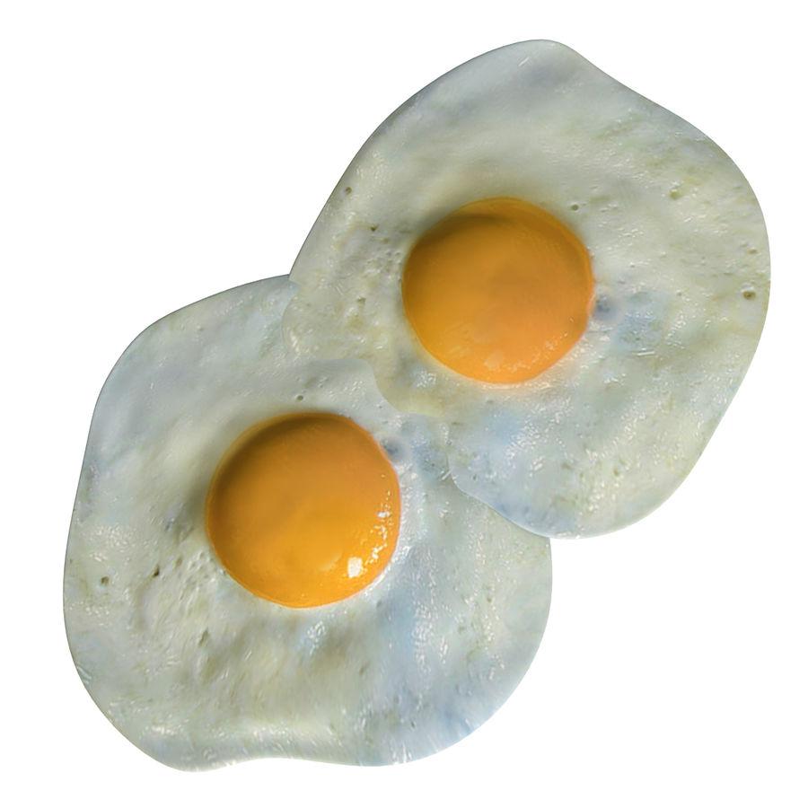 Fried Eggs royalty-free 3d model - Preview no. 3