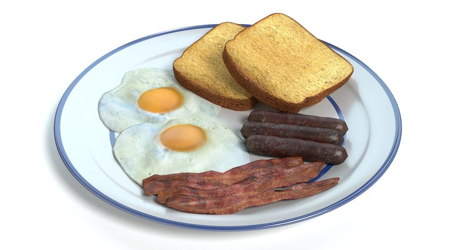 Breakfast Plate royalty-free 3d model - Preview no. 8