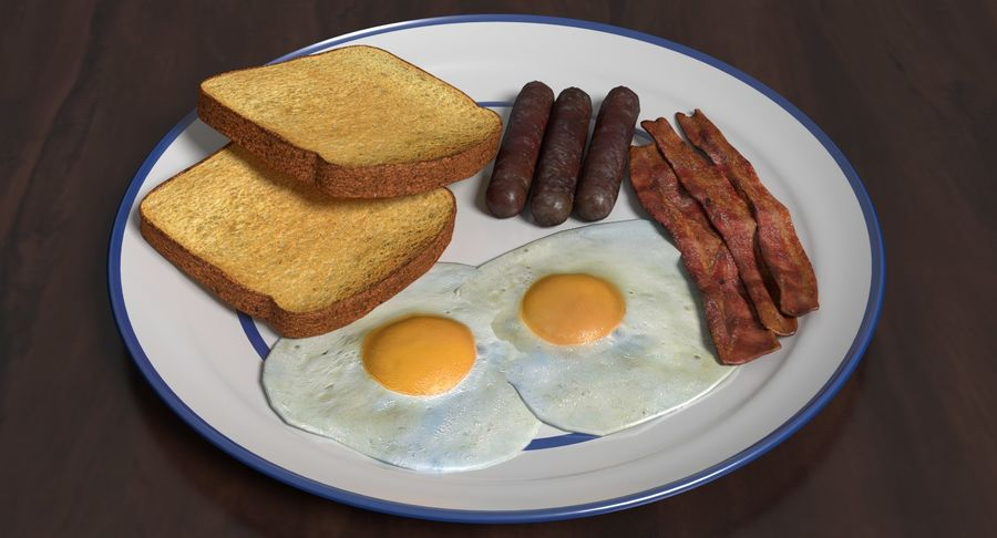 Breakfast Plate royalty-free 3d model - Preview no. 3