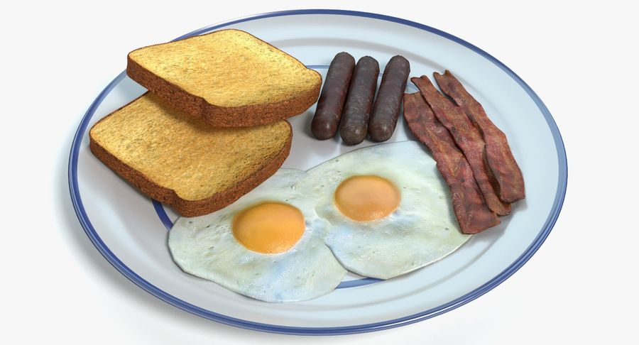 Breakfast Plate royalty-free 3d model - Preview no. 2