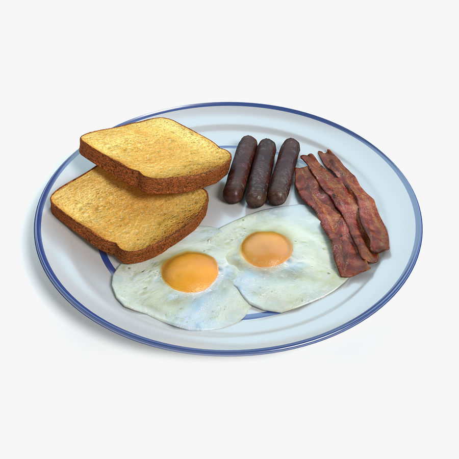 Breakfast Plate royalty-free 3d model - Preview no. 1