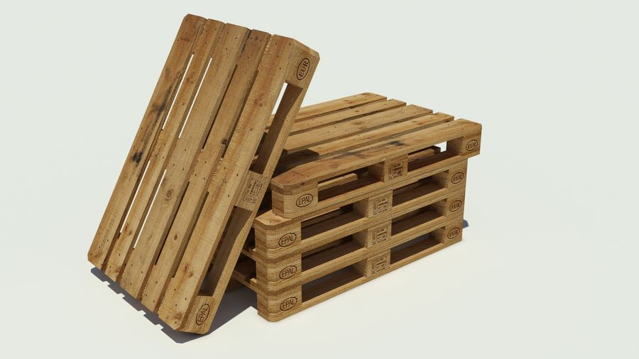 Europool wood pallet royalty-free 3d model - Preview no. 1
