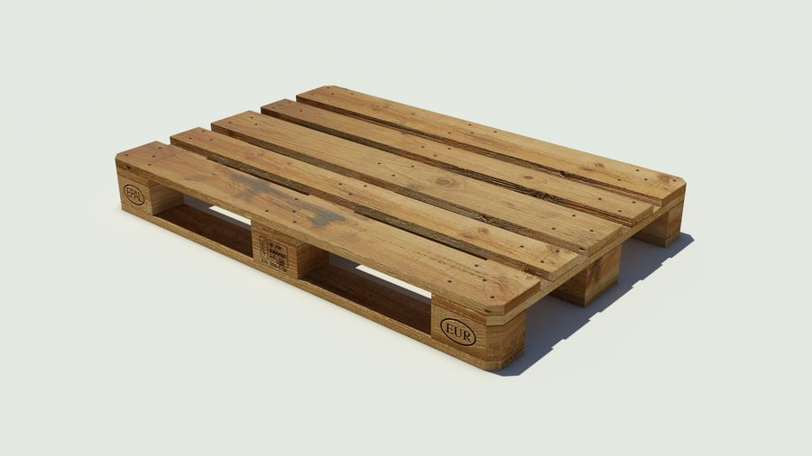 Europool wood pallet royalty-free 3d model - Preview no. 3