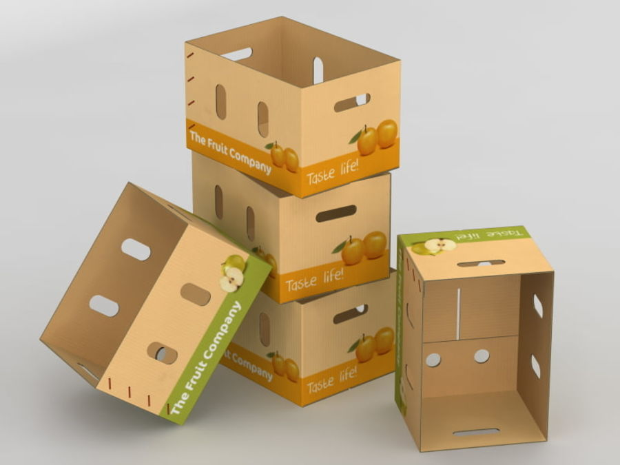 Fruit & Vegetable Box (Large) royalty-free 3d model - Preview no. 2