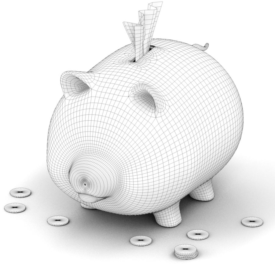 Loaded Piggy Bank royalty-free 3d model - Preview no. 7
