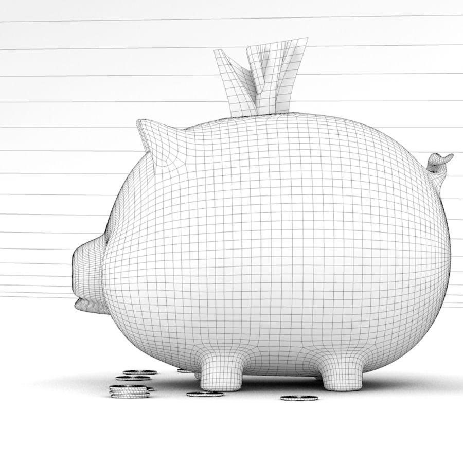 Loaded Piggy Bank royalty-free 3d model - Preview no. 9