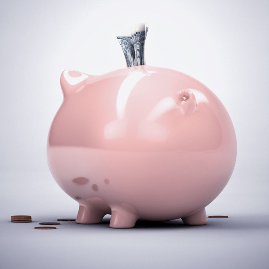 Loaded Piggy Bank royalty-free 3d model - Preview no. 2