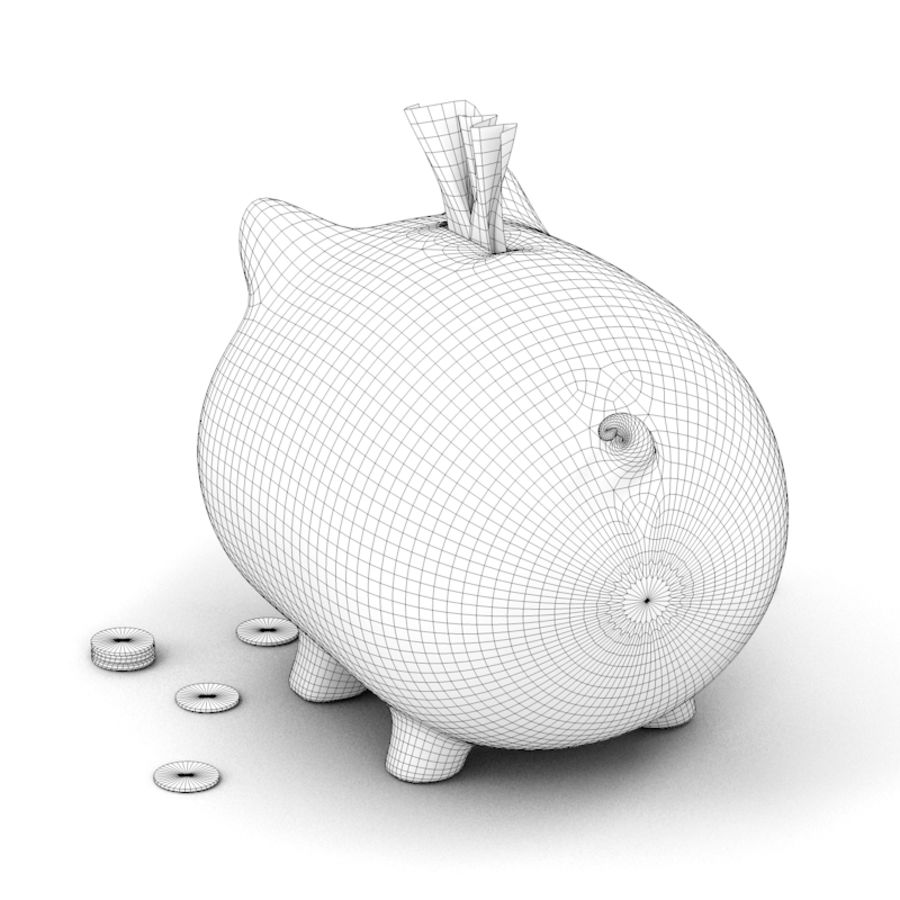 Loaded Piggy Bank royalty-free 3d model - Preview no. 8