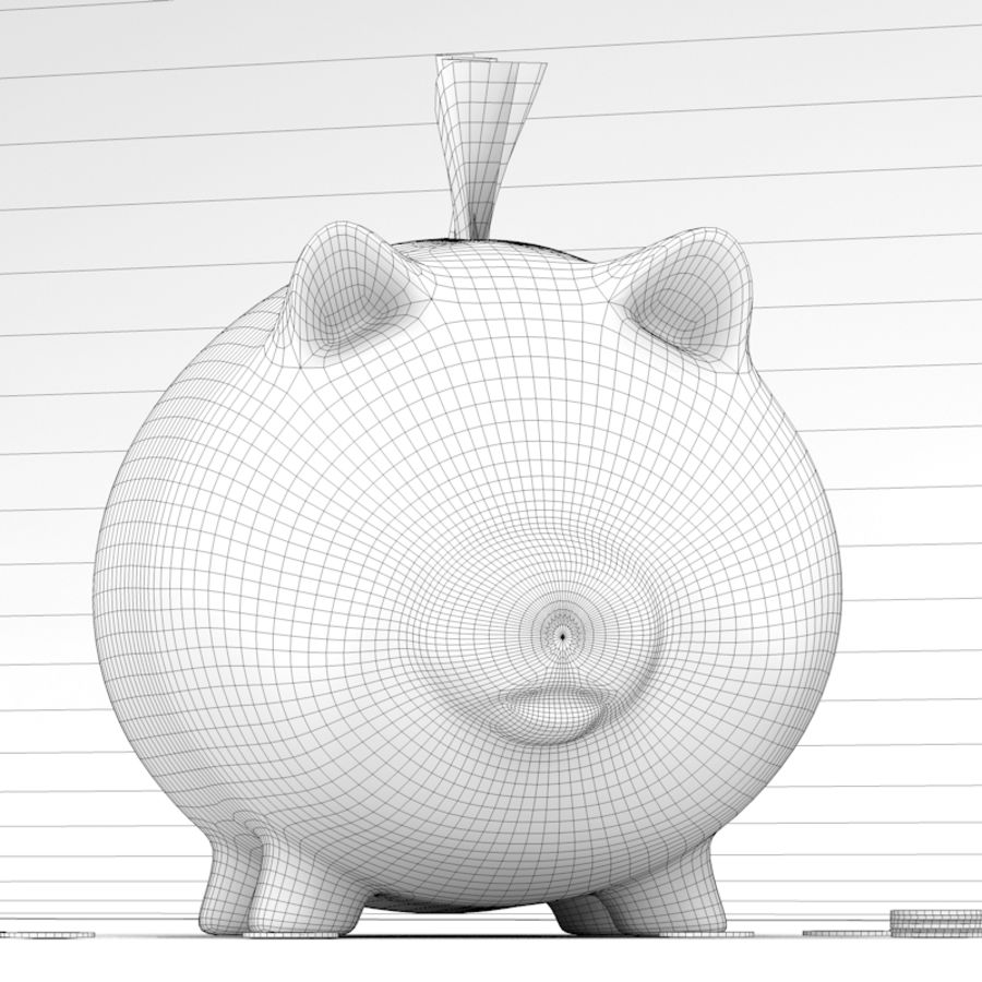 Loaded Piggy Bank royalty-free 3d model - Preview no. 10