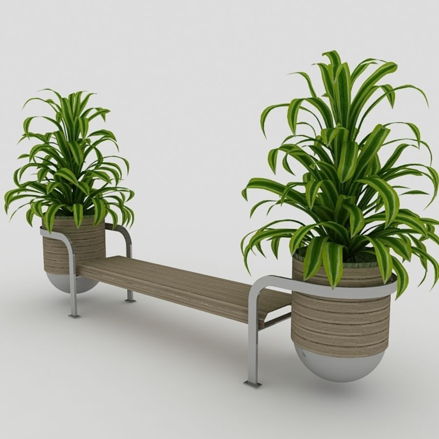 Bench and plants royalty-free 3d model - Preview no. 2