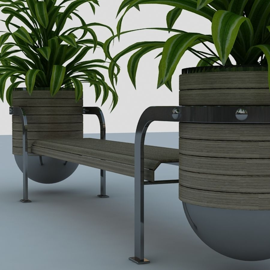 Bench and plants royalty-free 3d model - Preview no. 5