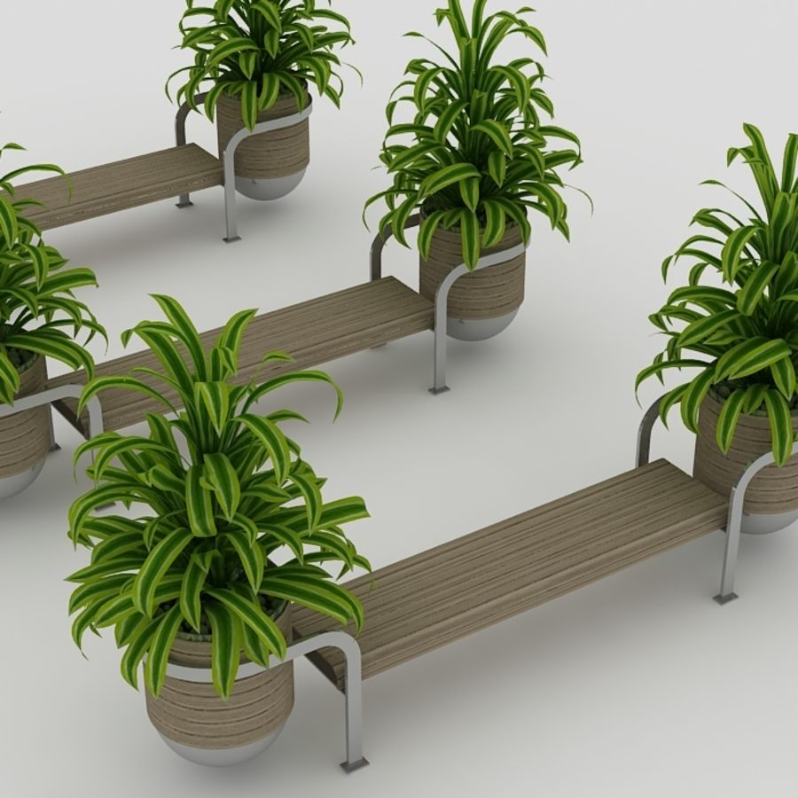 Bench and plants royalty-free 3d model - Preview no. 1