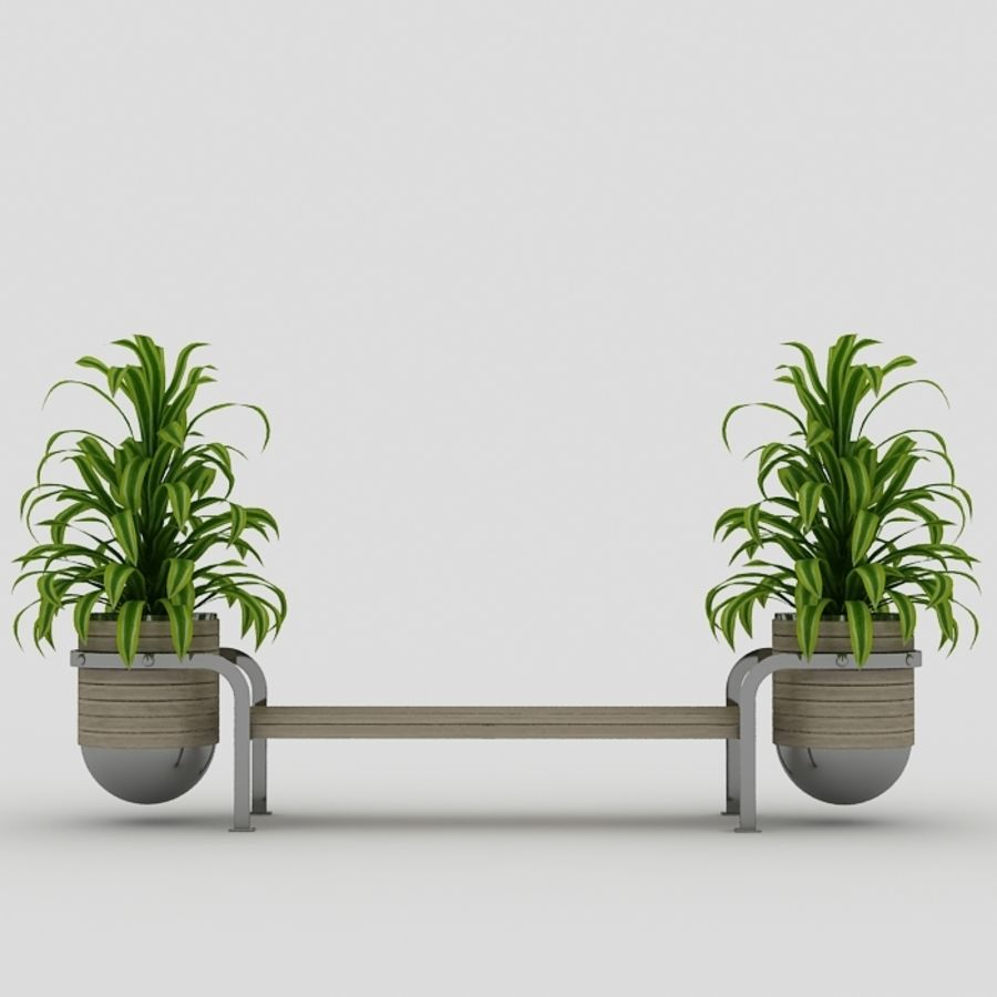 Bench and plants royalty-free 3d model - Preview no. 4