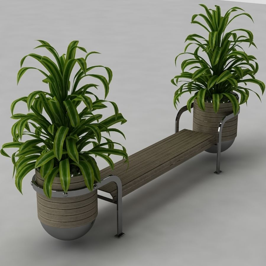 Bench and plants royalty-free 3d model - Preview no. 6