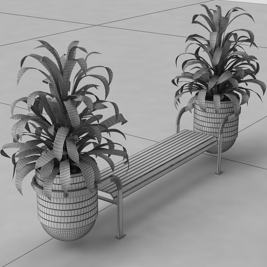 Bench and plants royalty-free 3d model - Preview no. 7