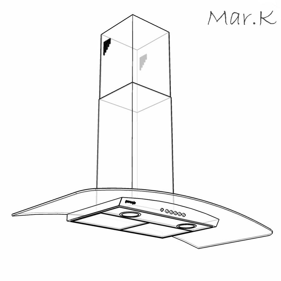 Kitchen hood Gorenje DKG9335 royalty-free 3d model - Preview no. 3
