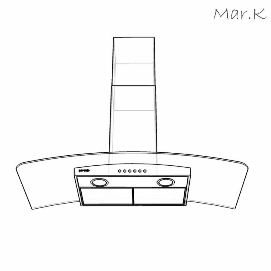 Kitchen hood Gorenje DKG9335 royalty-free 3d model - Preview no. 4