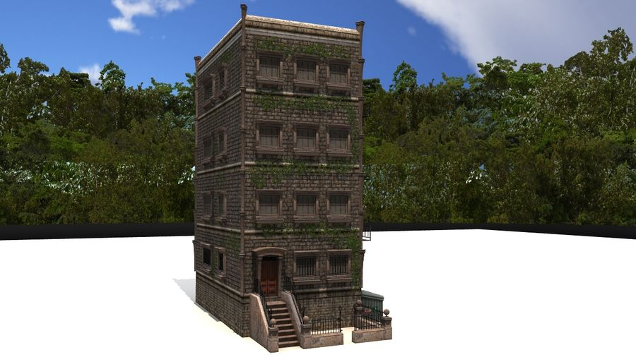 Brownstone - nyc royalty-free 3d model - Preview no. 4