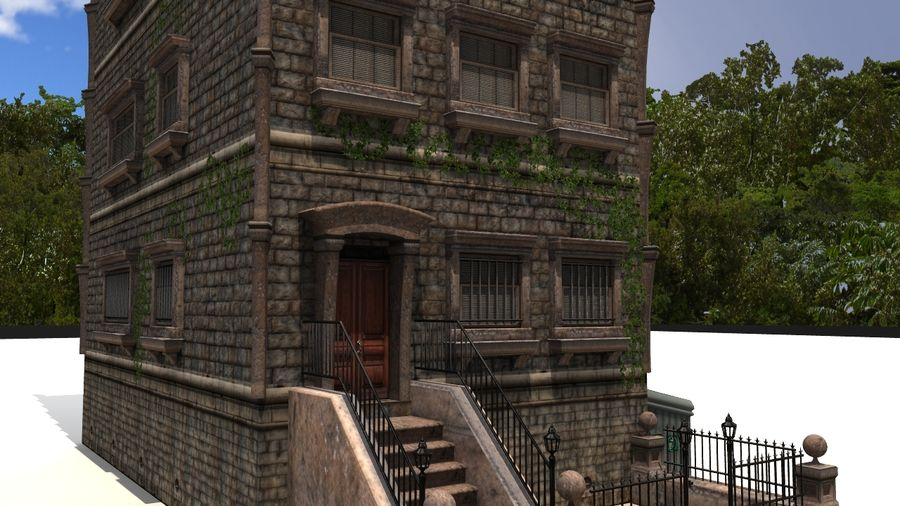 Brownstone - nyc royalty-free 3d model - Preview no. 6
