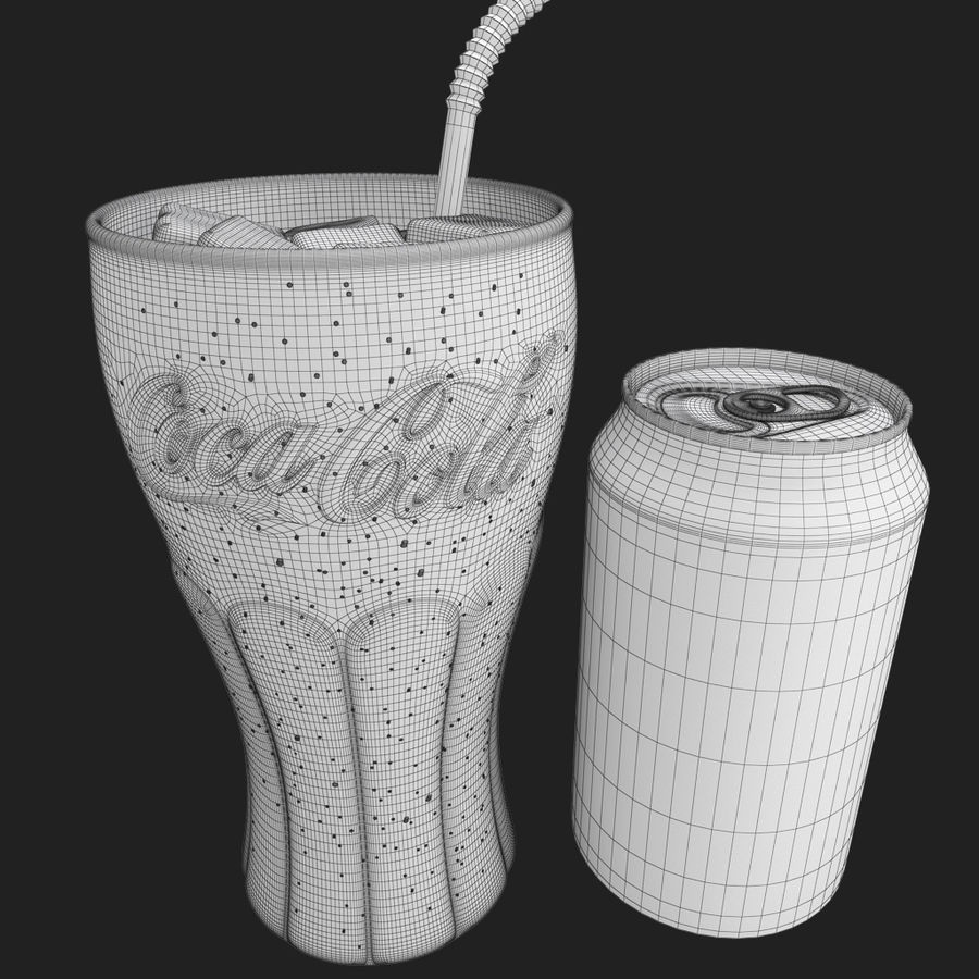 Detailed Coca Cola Glass and Can royalty-free 3d model - Preview no. 6