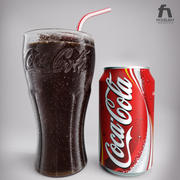 Detailed Coca Cola Glass and Can 3d model