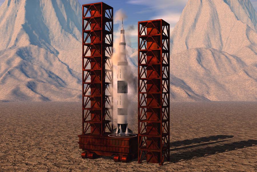 Saturn V(1) royalty-free 3d model - Preview no. 7