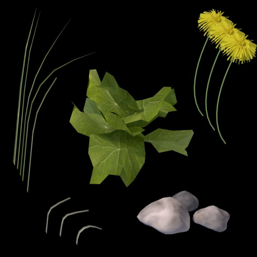 Grass and Dandelions (Terrain 1) royalty-free 3d model - Preview no. 3