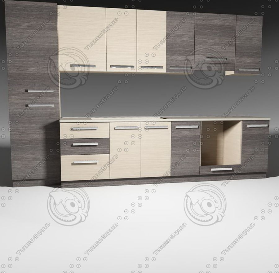Mobili da cucina con accessori modello 02 royalty-free 3d model - Preview no. 3