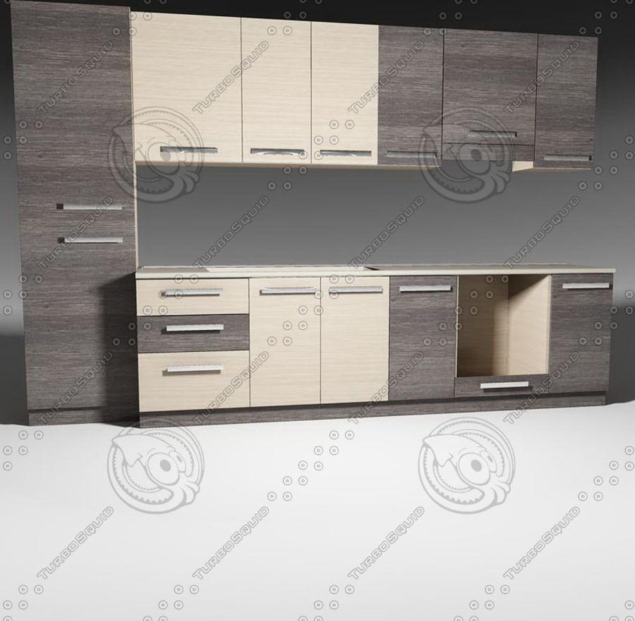 Mobili da cucina con accessori modello 02 royalty-free 3d model - Preview no. 2
