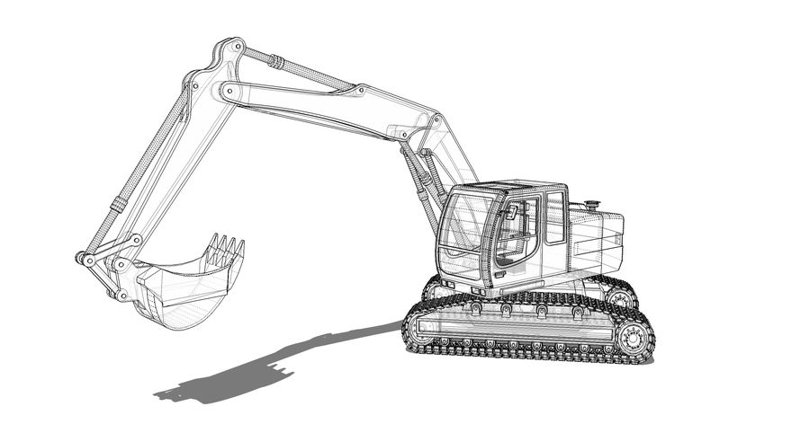 Excavator construction machine royalty-free 3d model - Preview no. 5
