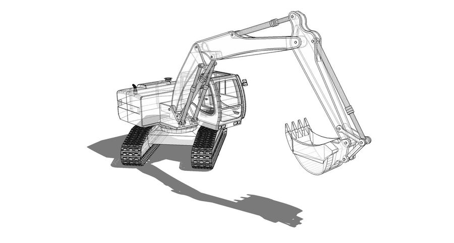 Excavator construction machine royalty-free 3d model - Preview no. 6