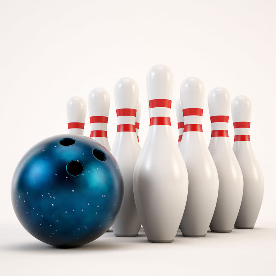Bowling Ball&Pins royalty-free 3d model - Preview no. 5